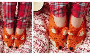 Fox Slippers Free Knitting Pattern