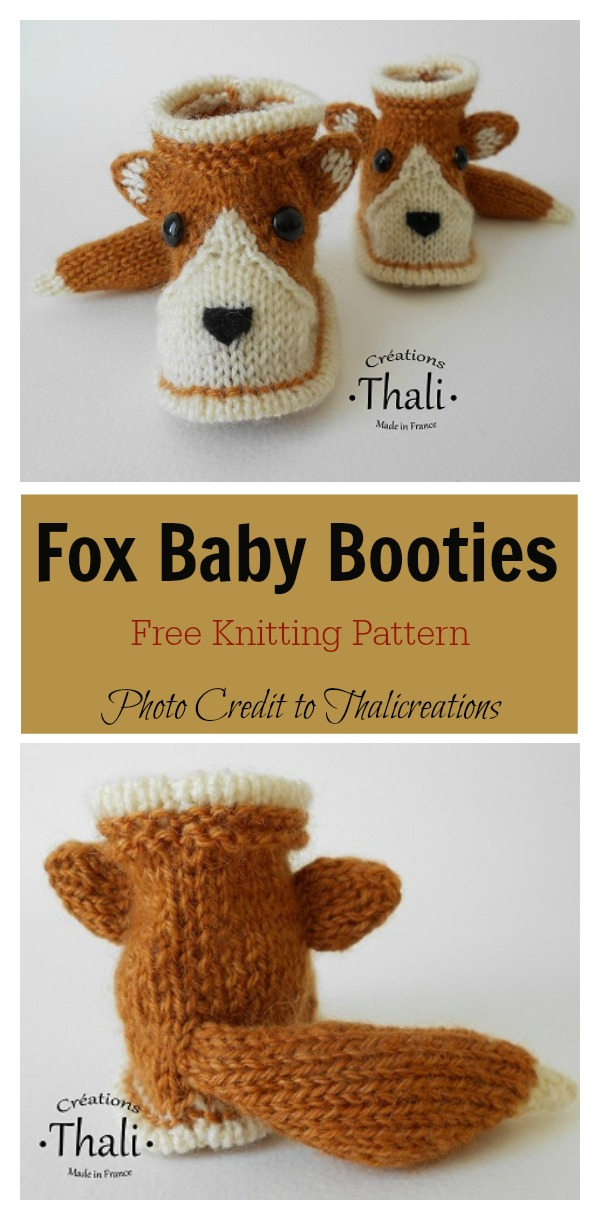 Fox baby Booties Free Knitting Pattern