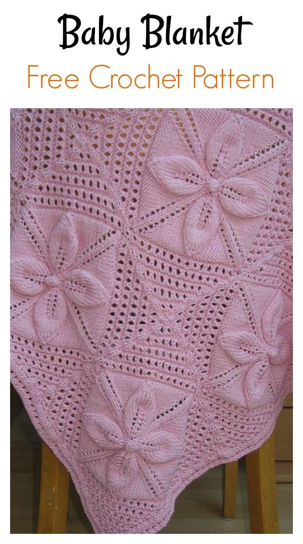 Leaf Motif Baby Blanket Free Knitting Pattern