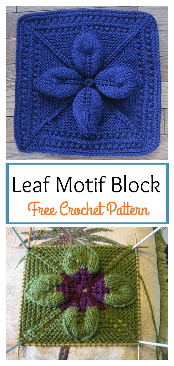 Leaf Motif Block Free Knitting Pattern