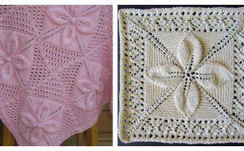 Leaf Motifs Afghan Baby Blanket Free Knitting Pattern