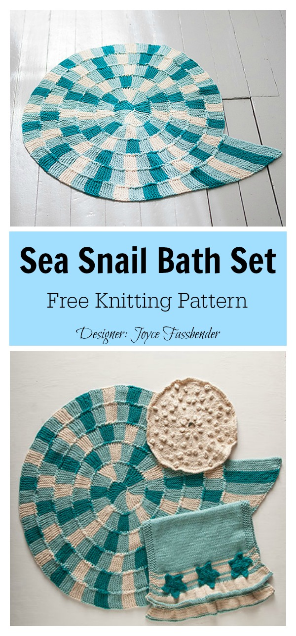 Sea Snail Bath Set Free Knitting Pattern