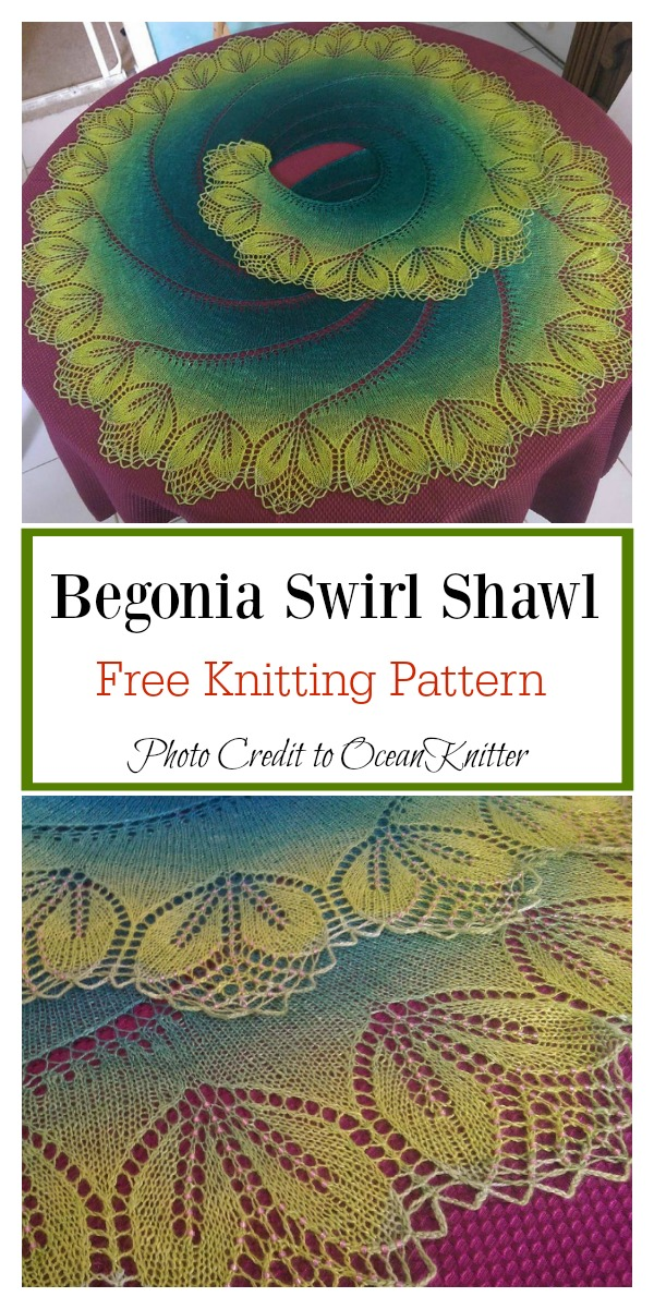 Bigger Begonia Swirl Lace Shawl Free Knitting Pattern