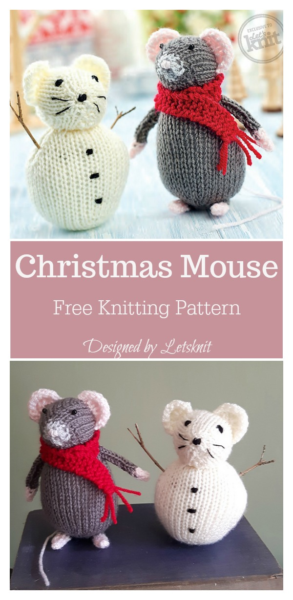 Christmas Mouse Free Knitting Pattern