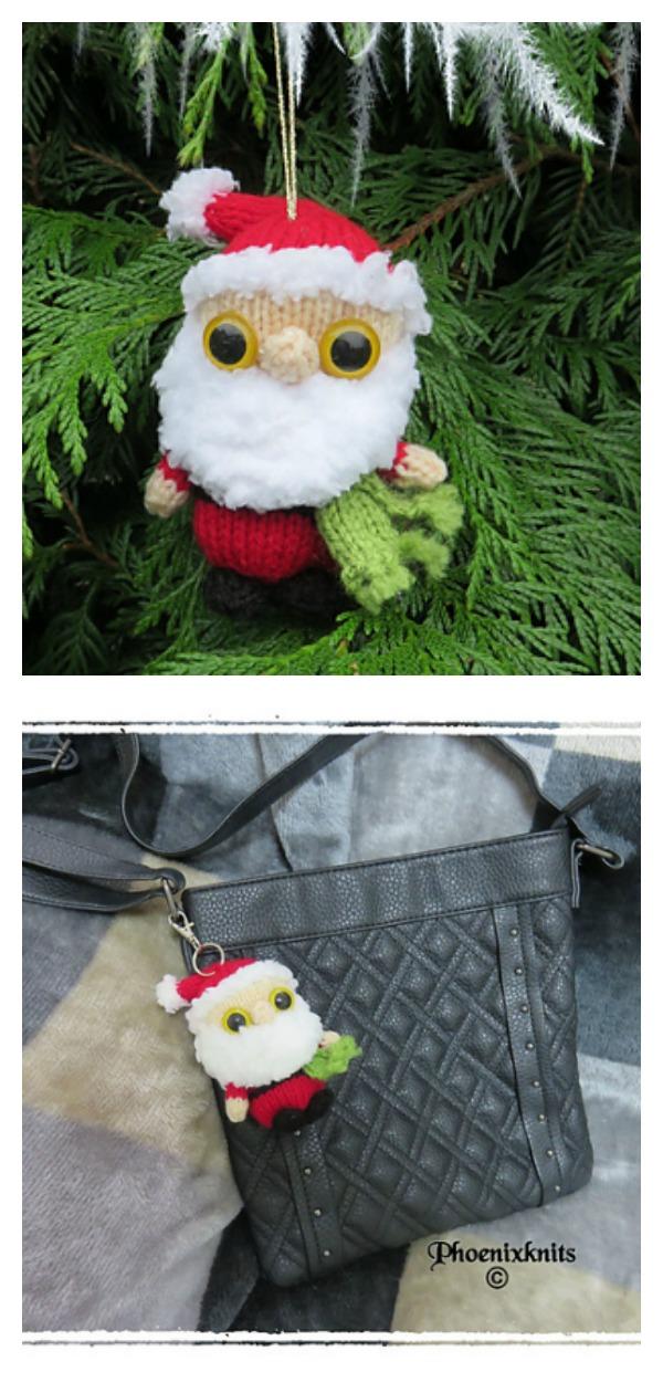 Christmas Santa Keychain or ornament Free Knitting Pattern