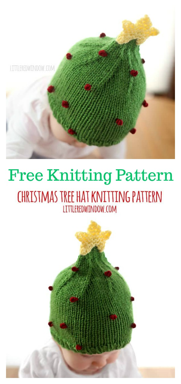 Christmas Tree Baby Hat Free Knitting Pattern