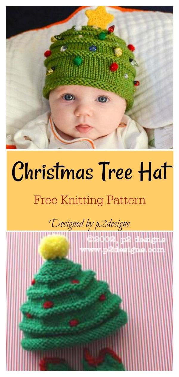Christmas Tree Baby Hat Free Knitting Pattern