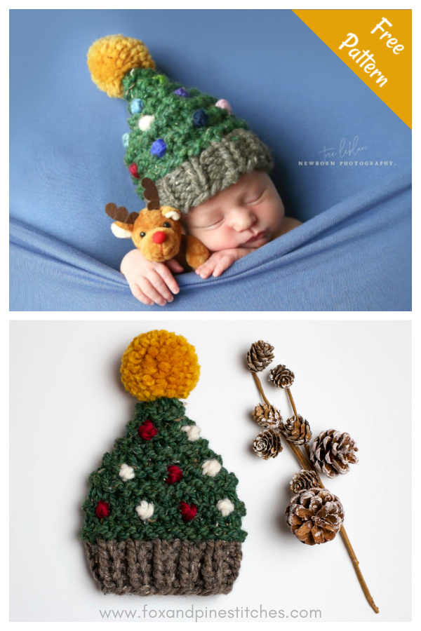 Christmas Tree Hat Baby Free Knitting Pattern