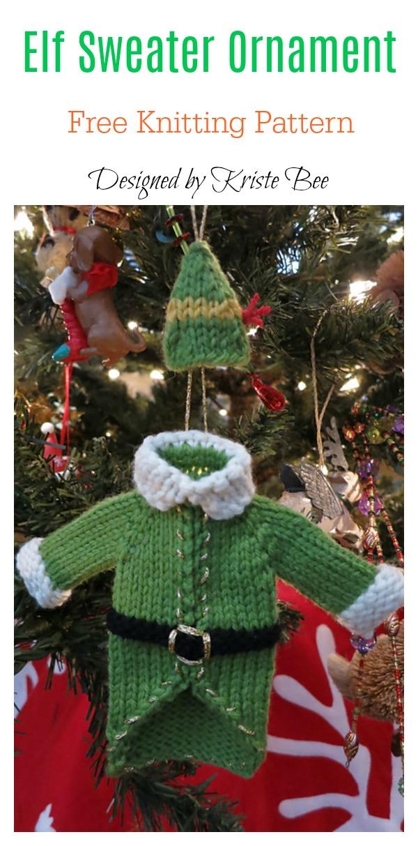 Elf Sweater Ornament Free Knitting Pattern