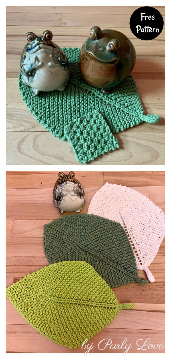 First Sign of Spring Leaf Washcloth Free Knitting Pattern