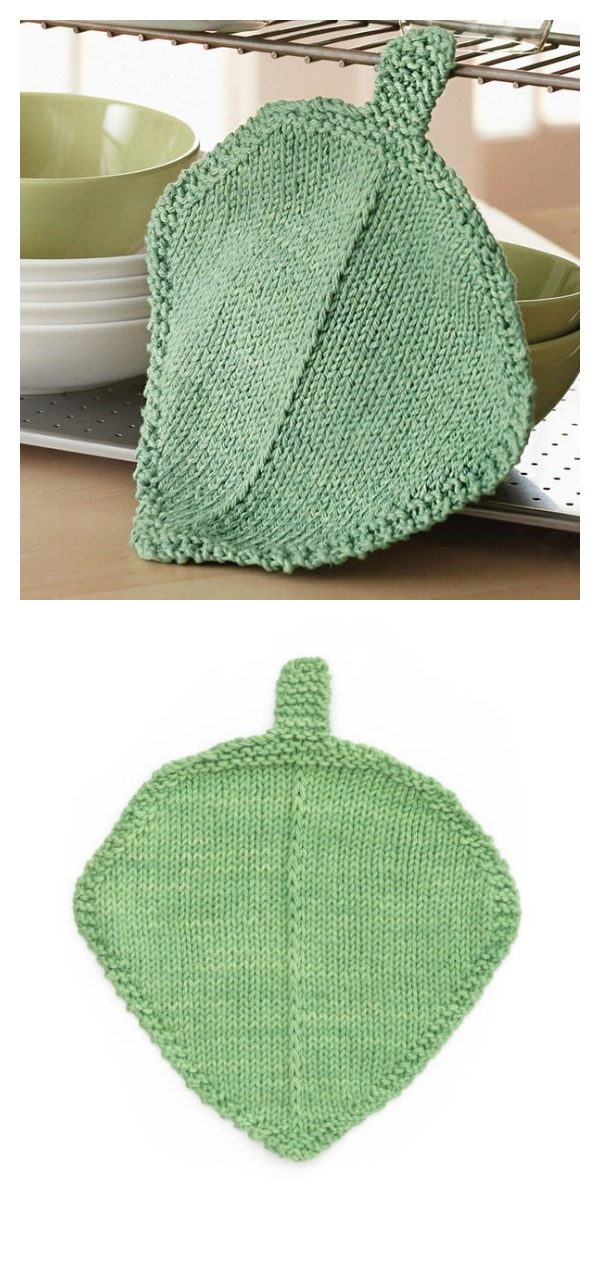 Garden Leaf Dishcloth Free Knitting Pattern