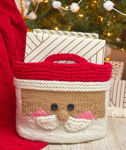 Jolly Santa Basket Free Knitting Pattern