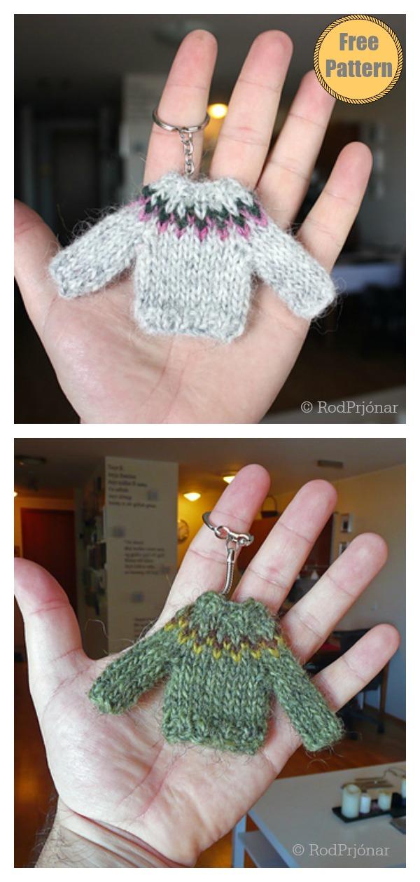 Mini Sweater Ornament Keychain Free Knitting Pattern