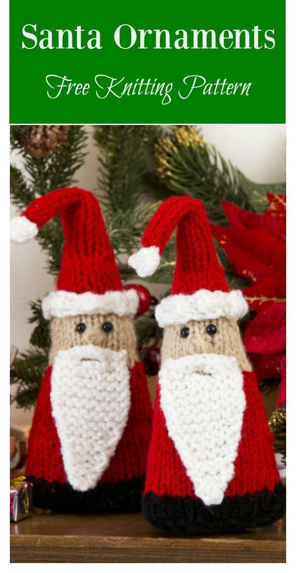 Santa Gnome Ornaments Free Knitting Pattern