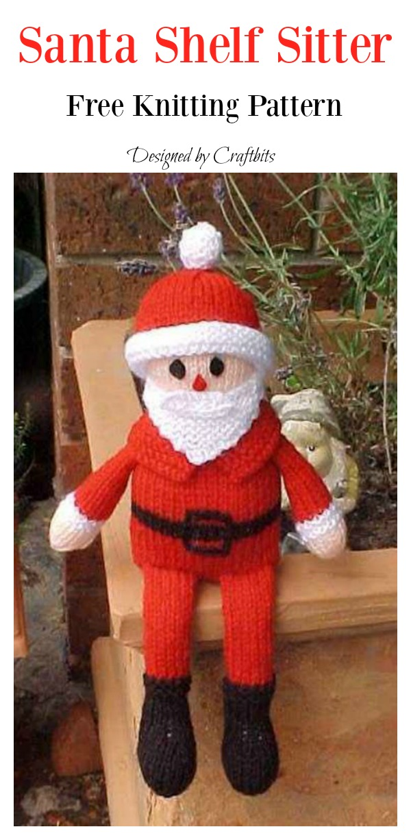 Santa Shelf Sitter Free Knitting Pattern