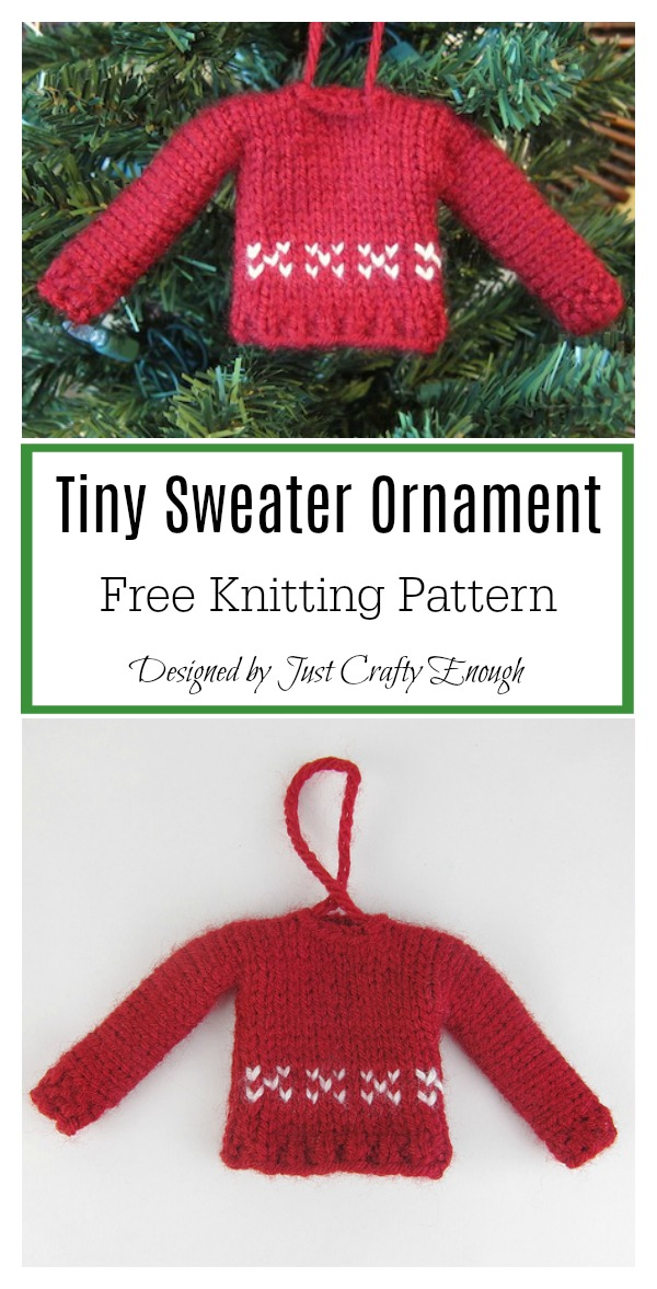Tiny Sweater Ornament Free Knitting Pattern