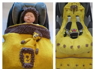 Animal Hooded Baby Car Seat Blanket Knitting Pattern