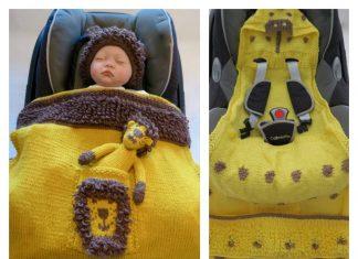 Animal Hooded Baby Car Seat Blanket Knitting Pattern