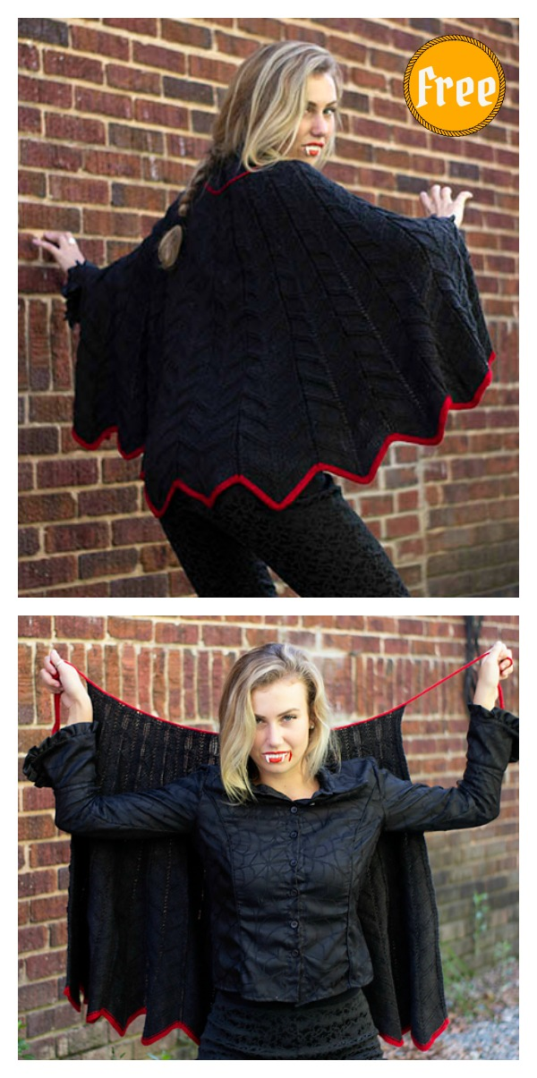 Bat Cape Free Knitting Pattern