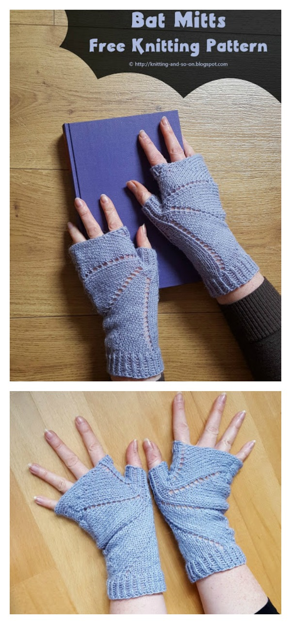 Bat Mitts Free Knitting Pattern
