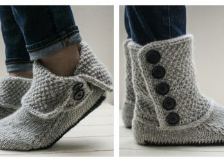 Button Slipper Boots Knitting Pattern