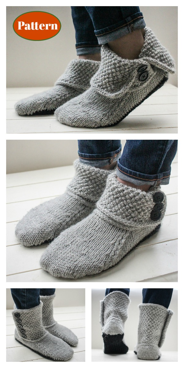 Button Slipper Boots Knitting Pattern