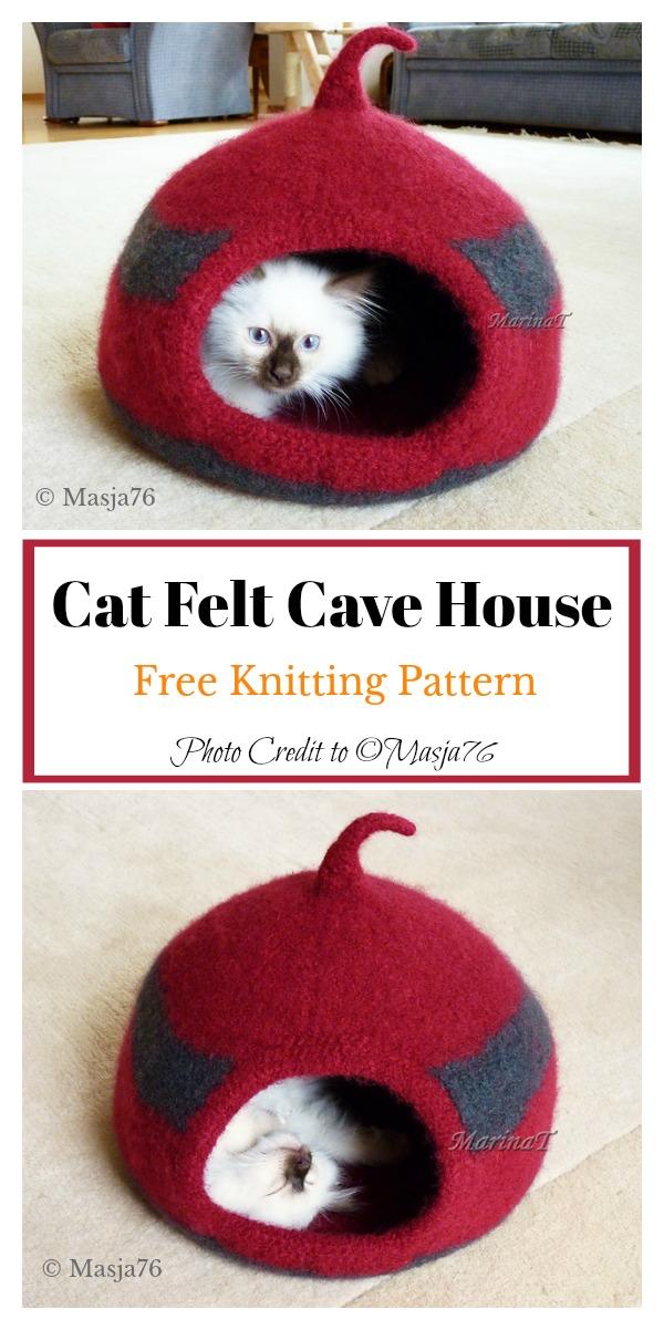 Cat Felt Cocoon Free Knitting Pattern