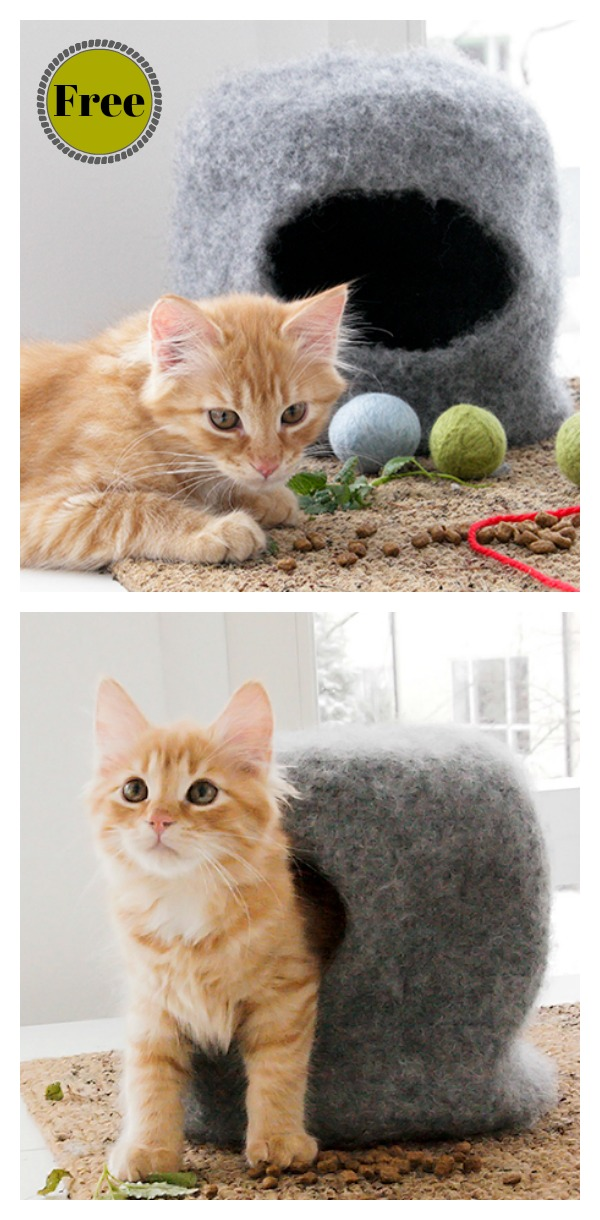 Cat Felt Cave House Free Knitting Pattern