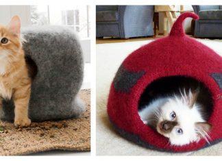 Cat Felt Cave House Free Knitting Pattern
