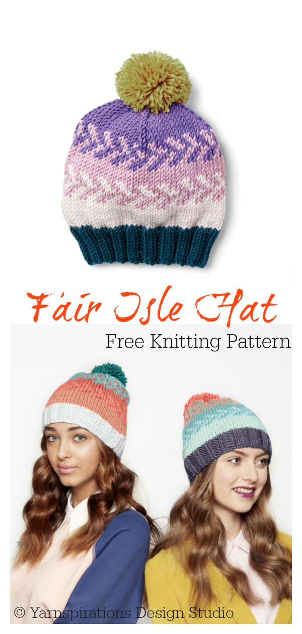 Fair Isle Beanie Hat Free Knitting Pattern