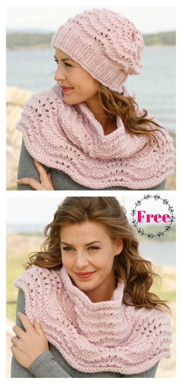 Wave Stitch Hat and Neck Warmer Free Knitting Pattern