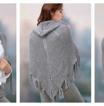 Hoodie Shawl Free Knitting Pattern