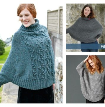 Lovely Poncho with Sleeves Free Knitting Pattern