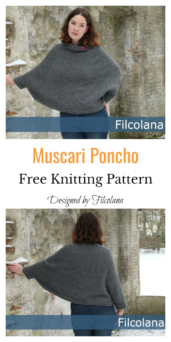 Muscari Poncho With Sleeves Free Knitting Pattern