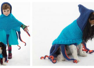 Octopus Poncho and Octopus Dog Sweater Free Knitting Pattern