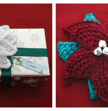 Poinsettia Gift Topper Free Knitting Pattern