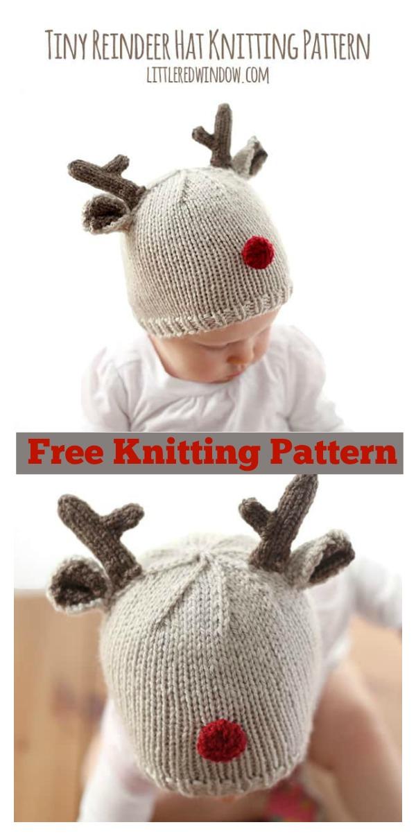 Reindeer Baby Hat Free Knitting Pattern
