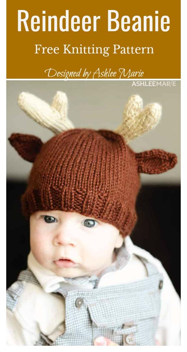 Reindeer Beanie Hat Free Knitting Pattern