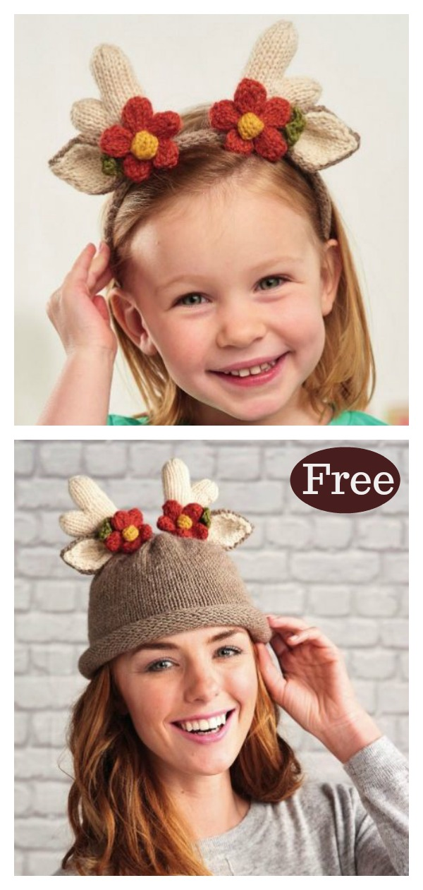Reindeer Hat And Headband For Adults And Children Free Knitting Pattern