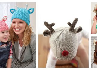 Reindeer Hat Free Knitting Pattern