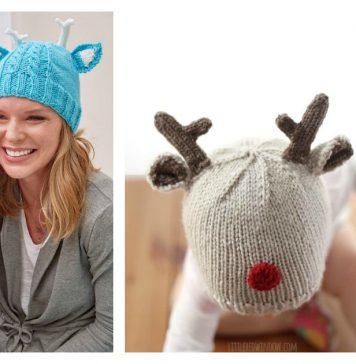 Reindeer Hat Free Knitting Pattern