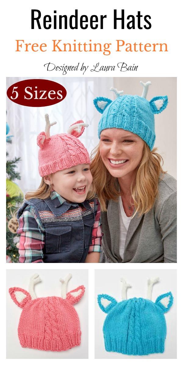 Reindeer Hats Free Knitting Pattern