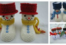 Snowman Baby Booties Knitting Pattern