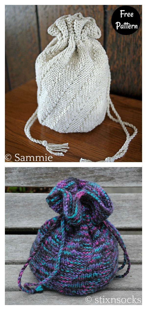 Spiral Drawstring Bag Free Knitting Pattern