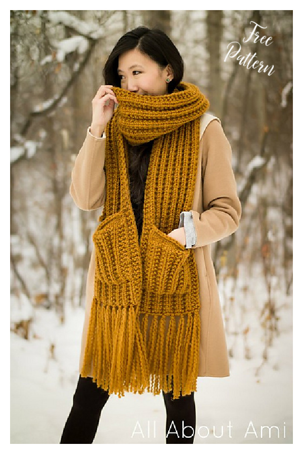 Arbor Pocketed Scarf Free Knitting Pattern