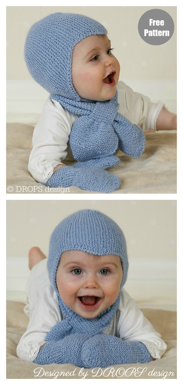 Aviator Earflap Hat Set Free Knitting Pattern