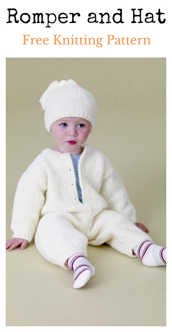 Baby Romper and Hat Free Knitting Pattern