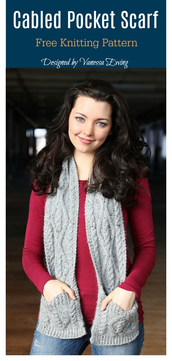 Cabled Pocket Scarf Free Knitting Pattern