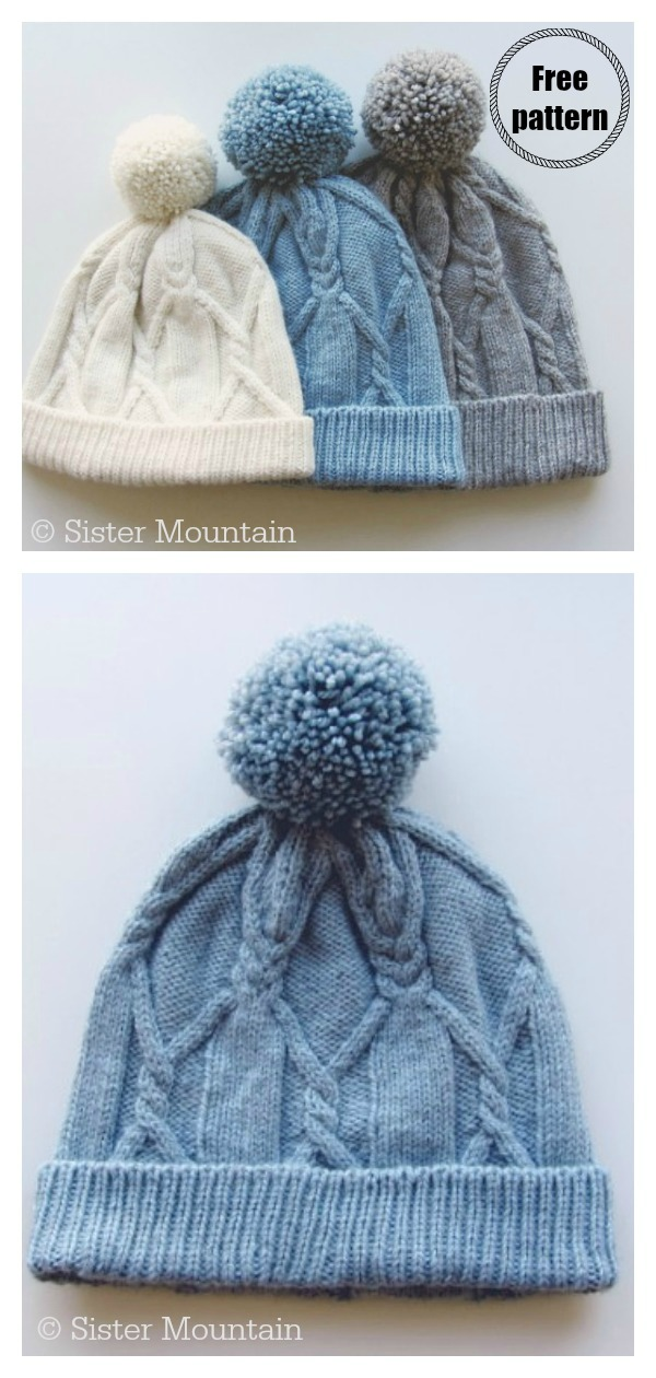Cabled Slouchy Hat Free Knitting Pattern