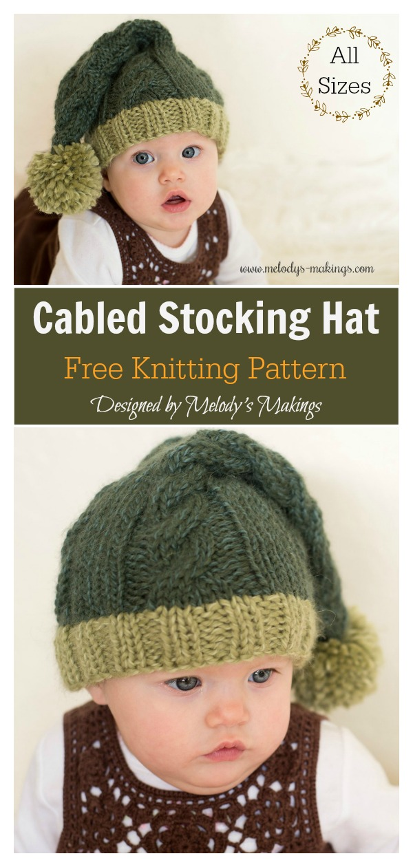 Cabled Stocking Hat Free Knitting Pattern